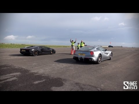 Lamborghini Aventador vs Ferrari F12 Berlinetta - Launch Control Drag Race