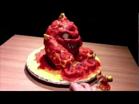 How to make a Skylander Birthday Cake: Eruptor 3D cake