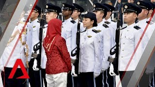 NDP 2018: President Halimah Yacob inspects guard of honour