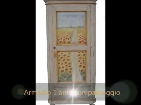 Mobili dipinti laccati e decorati:armadio 1 porta dipinto e decorato a mano con paesagio di girasoli