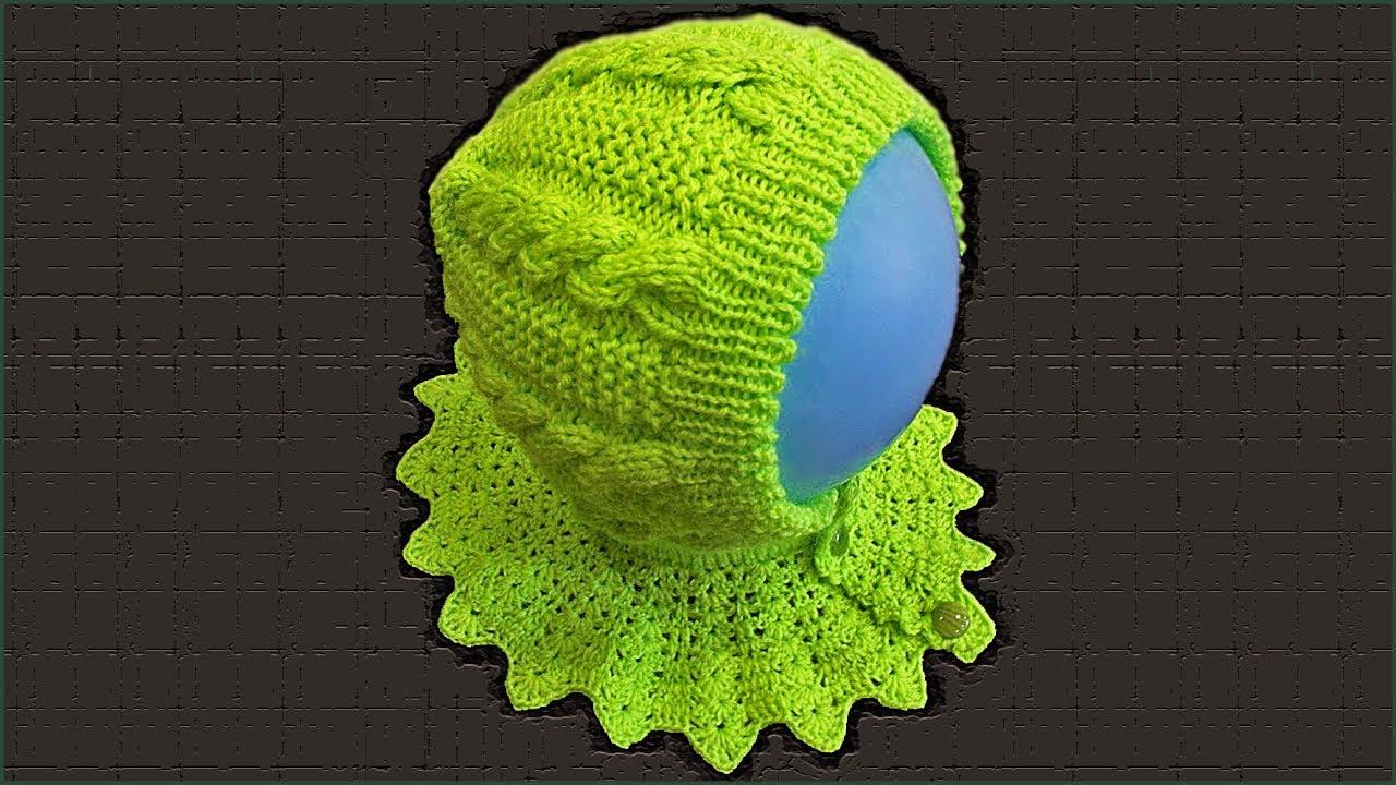 Вязание спицами детский шлем