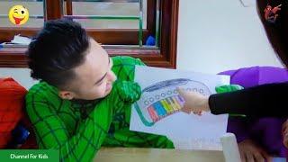 Siêu Nhân đi học, Người Nhện và Công Chúa Elsa đi học vẽ, học tô màu