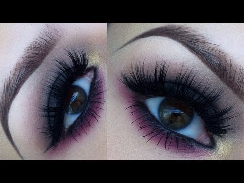 Dark smokey eye with a pink twist makeup tutorial