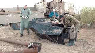 WWII GERMAN HALF-TRACK RECOVERY FROM PILICA RIVER TRAILER