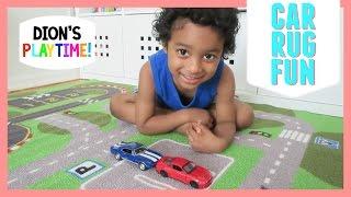 Cute kid Playing on Car Racetrack Rug! Blaze & the monster machines Hot wheels Paw Patrol