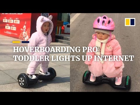 Hoverboarding pro toddler lights up Chinese internet
