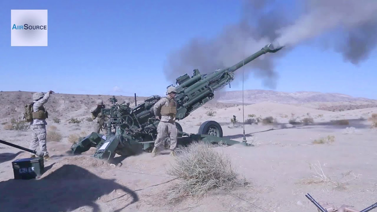 Us Marines Firing The M777 155mm Howitzer Youtube