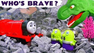 Thomas and Friends brave train toy trains stories with the funny Funlings and a dinosaur TT4U