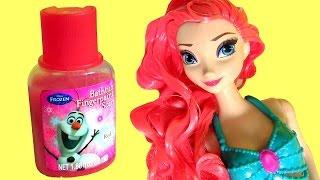 Princess Makeover Ariel the Little Mermaid Elsa Disney Frozen Olaf Bathtime Finger Bath Paint NEW