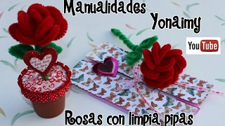 ROSAS HECHAS CON LIMPIA PIPAS . PIPE CLEANER ROSES .