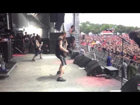 Killswitch Engage Sidestage Heavy MTL Adam D has fun on stage 2012