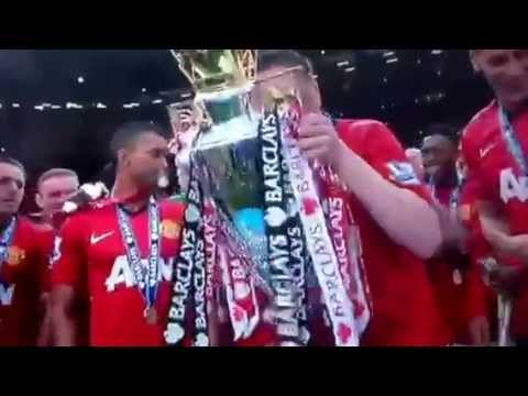 Man united lifting premier league trophy 2013