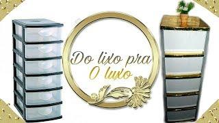 Diy/Transformando gaveteiro plástico com #papelcontact #dolixoaoluxo