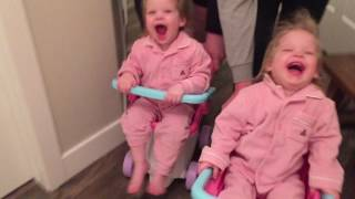 THE TWINS RACE, WITH THE HELP OF THEIR UNCLES