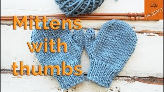 How to knit Mittens with Thumbs for Children, step by step - So Woolly