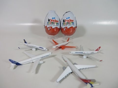 5 Kinder Surprise egg Airbus A330-300 Limited Edition toys unwrapping