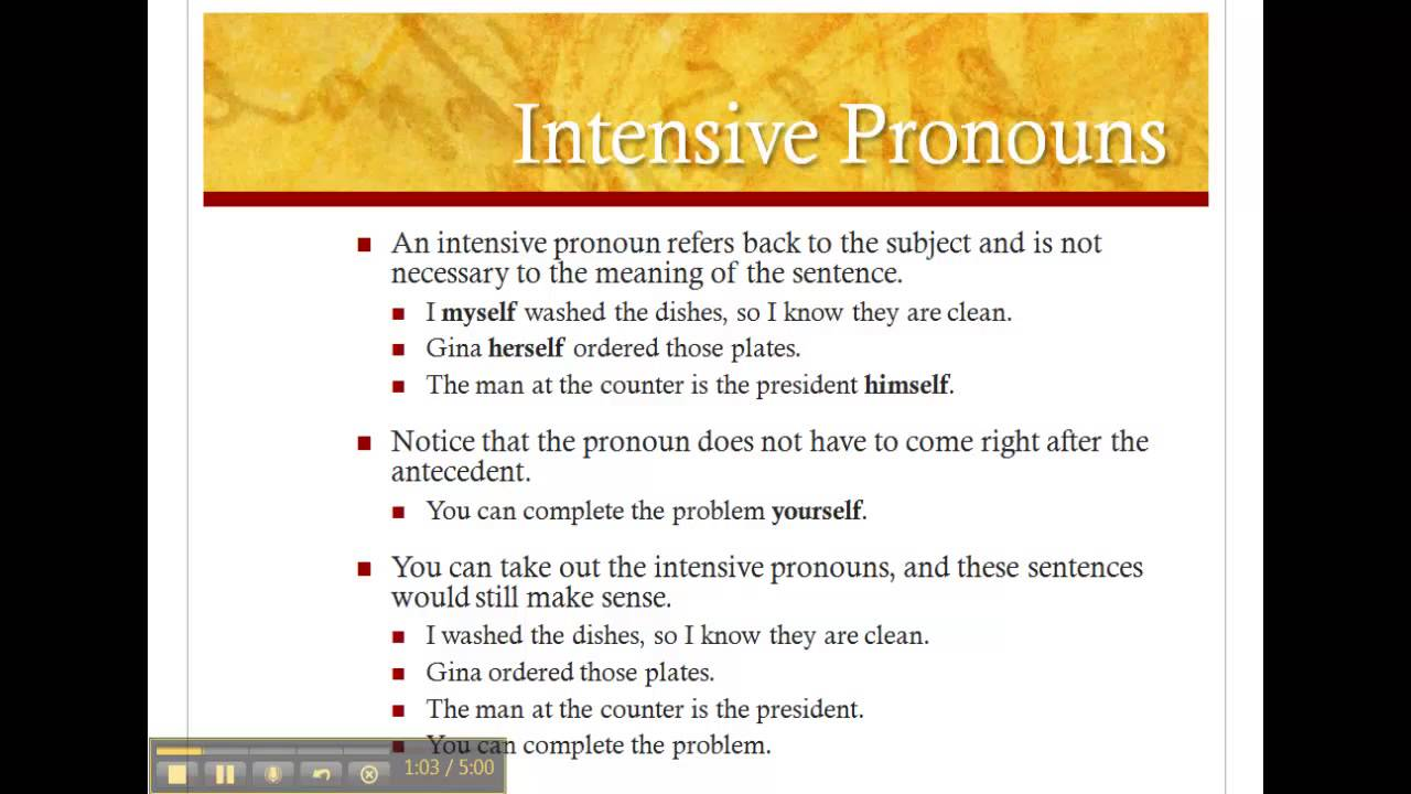 Worksheets Reflexive And Intensive Pronouns Worksheet intensive and reflexive pronouns lessons tes teach youtube