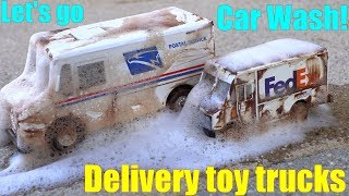 Kids' CAR WASH Playtime. Car Wash the Dirty Delivery Trucks! FedEx, DHL, UPS and USPS Diecast Trucks