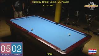 Tuesday 10 Ball Handicap Competition - Megabreak Pool Pattaya : 07/05/19