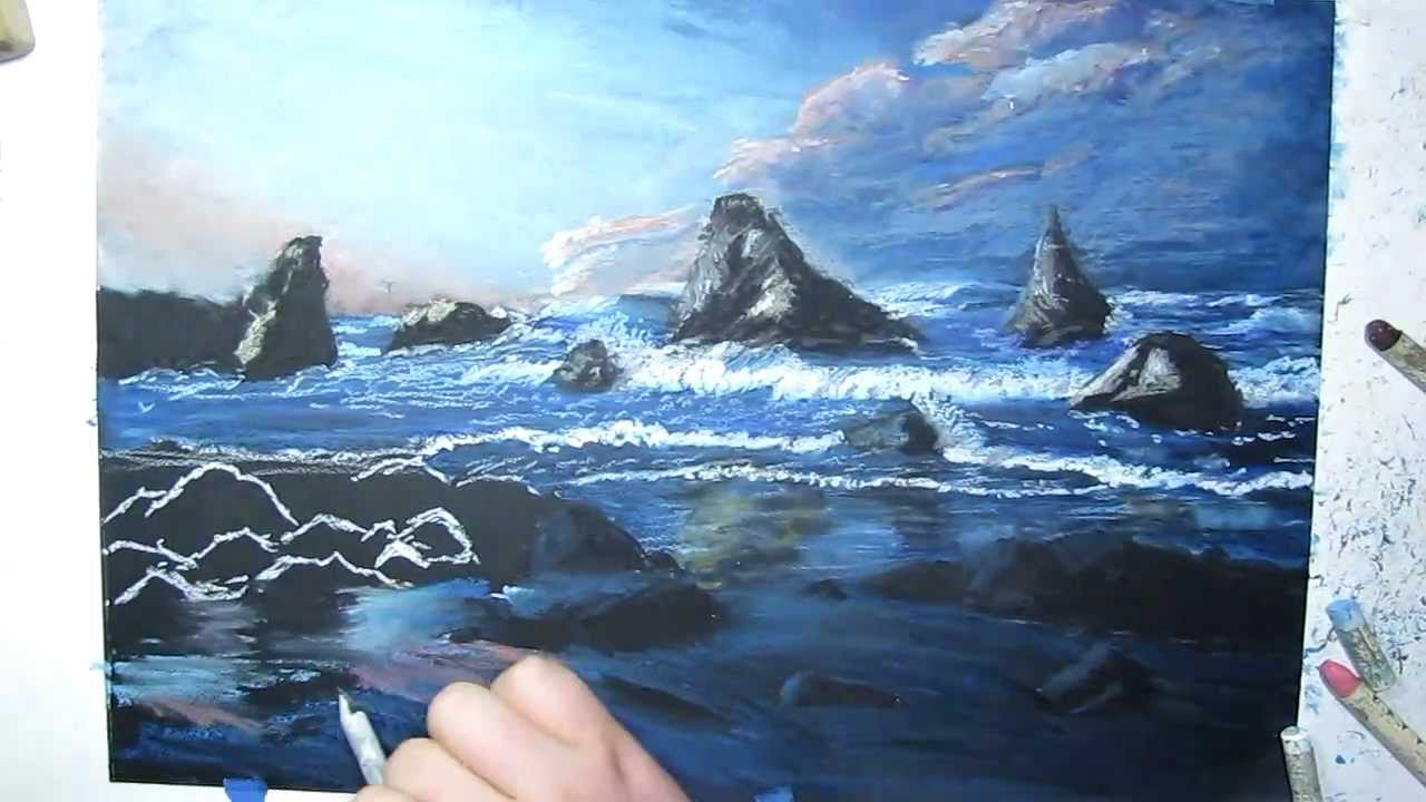 Drawings of Sunset at The Beach Rocky Beach Speed Drawing