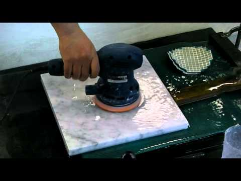 Marble polishing by orbital sander