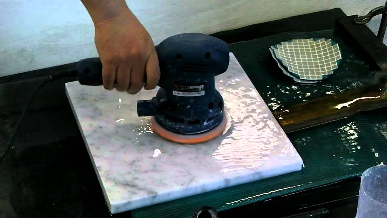Marble Polishing By Orbital Sander Youtube