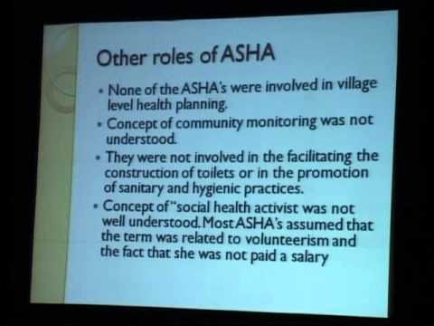 The contribution of Accredited Social Health Activist (ASHA) under NRHM , Bigar- Anil Cherian - 1