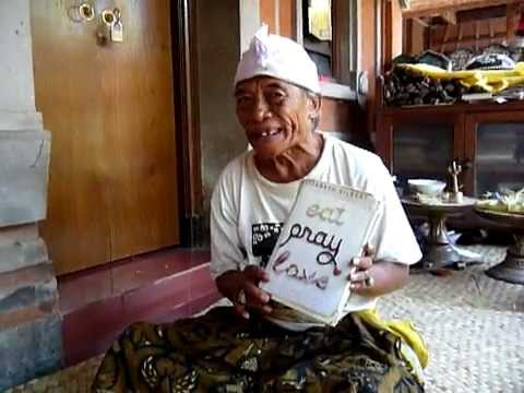 Ketut Liyer - Part 1 showing us Eat Pray Love book signed by Elizabeth Gilbert Bali Indonesia Video