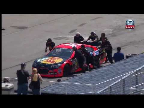 NASCAR Tony Stewart Hits the Wall During Practice at Michigan 2013
