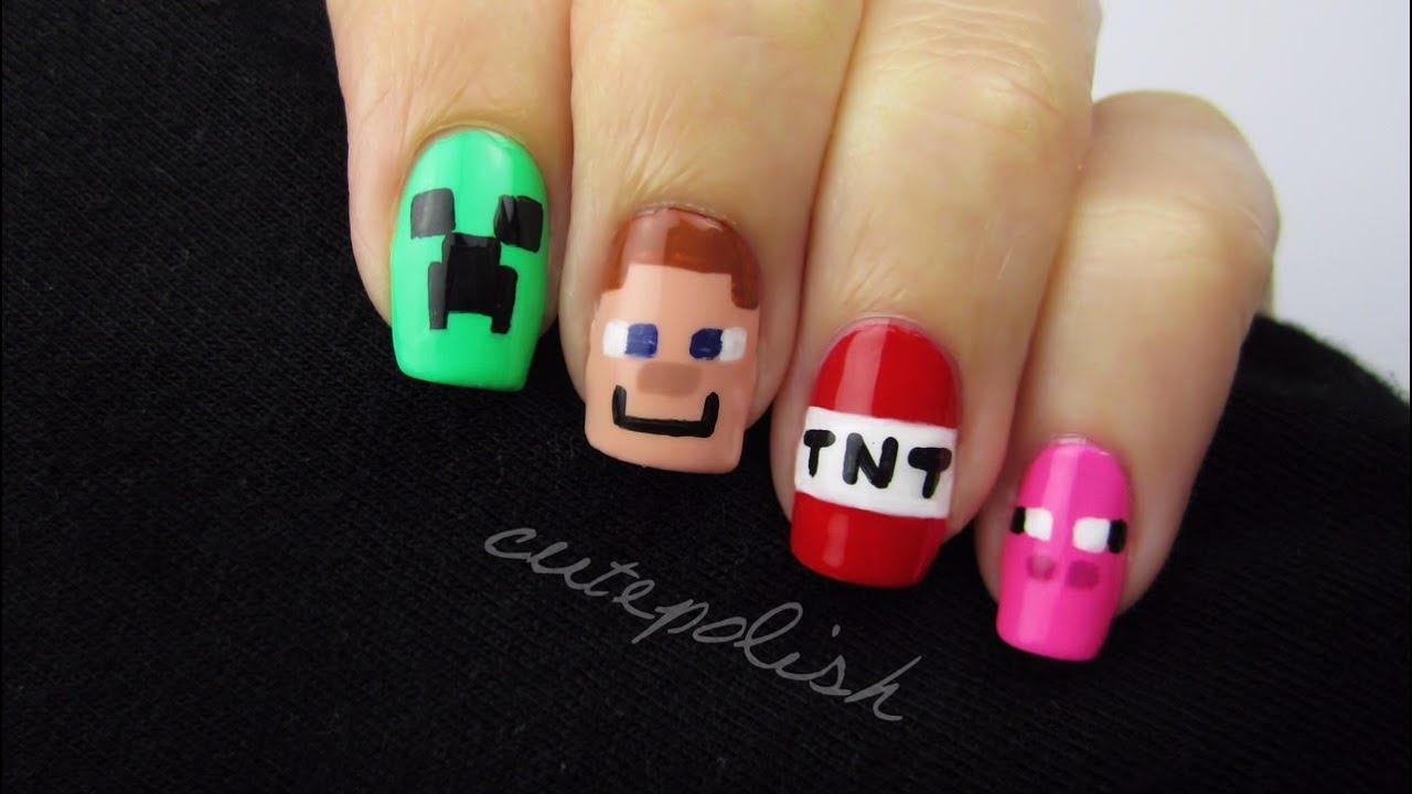 Minecraft nail art nerd nail series best of youtube Diy nail art ideas youtube
