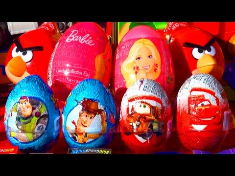 8 Surprise Eggs Unboxing Toy Story Disney Pixar Cars 2 Angry Birds Barbie Eggs...