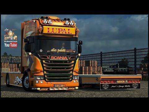 [ETS2 v1.23] Scania Lupal + 3 Trailer + V8 Sound
