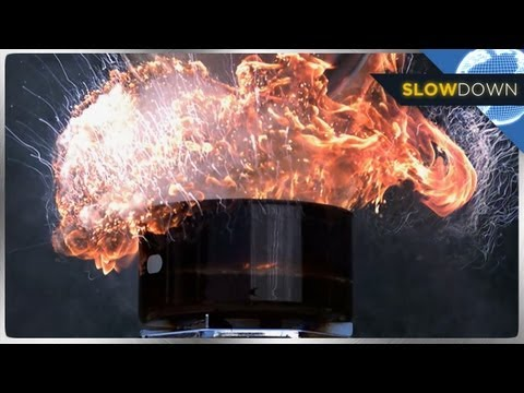 Grease fire blows up in slow motion