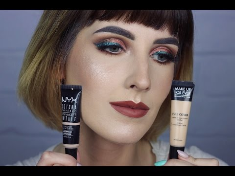 MAKEUP FOR EVER Full Cover Vs NYX Gotcha Covered- TEST NA ŻYWO