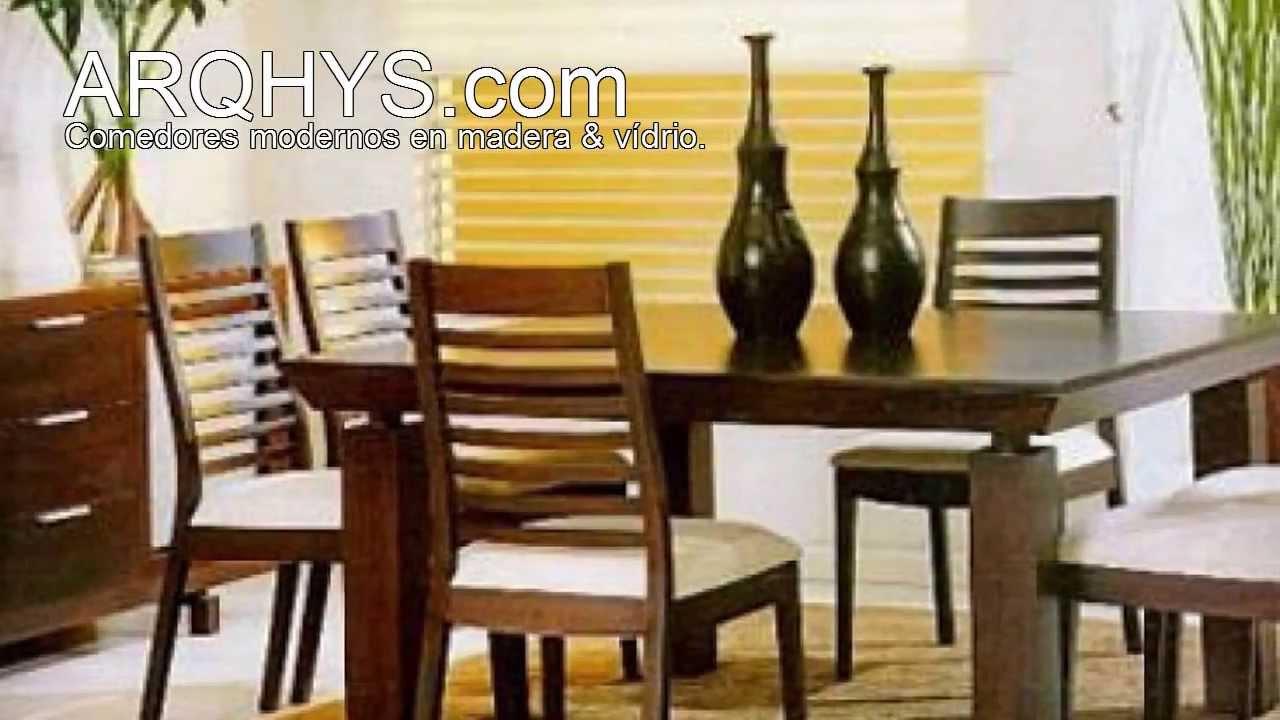 Comedores modernos de madera y vidrio youtube for Precios de comedores en vidrio
