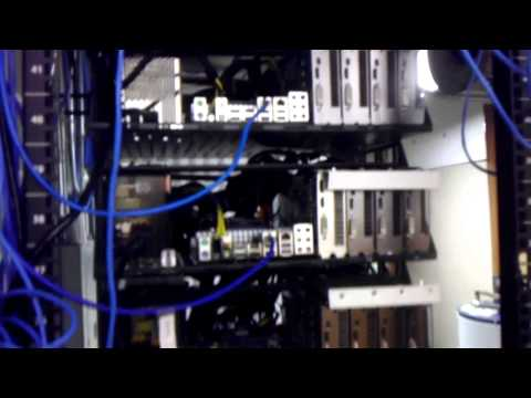 Server rack of 10 rigs mining bitcoins