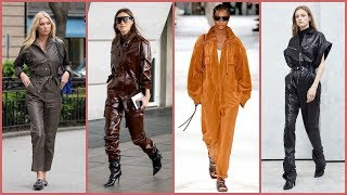 Designer And Stylish leather jumpsuits outfits Idea's