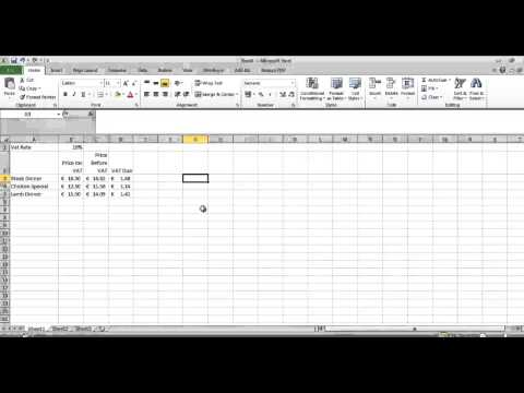 VAT calculations in Excel
