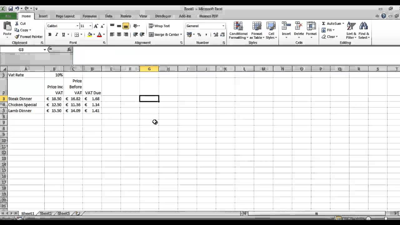 vat calculations in excel