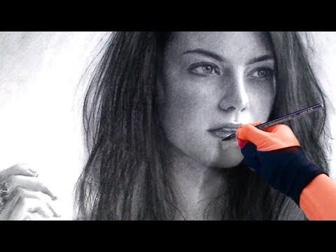 Elegant Emma Stone Portrait in Charcoal - with Soothing Music