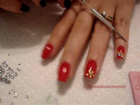 U as rojas con piedras youtube for Unas decoradas con piedras de cristal