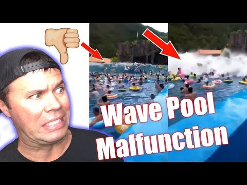 Wave Pool Malfunction |  GIANT Wave Pool Tsunami in China Injures 44 People