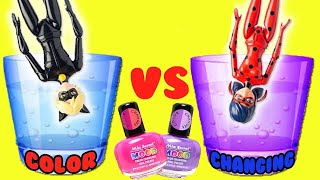 Miraculous Ladybug and Cat Noir Color Changing Nail Polish Custom DIY Easy Crafts for Kids
