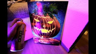 Halloween Pumpkin House - GLOW IN DARK - Spray Paint ART by Skech