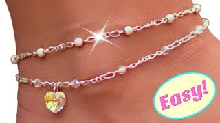 Cute Diy Anklet With Crystals And Beads/ Easy Jewelry Making