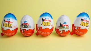 Three Kinder Joy and two Kinder Surprise Eggs