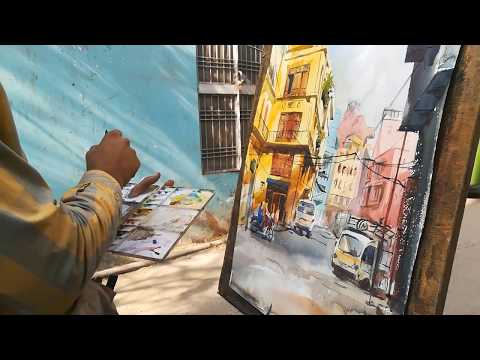 My 1st English tutorial   watercolor cityscape painting tutorial   M Kazmi Studios