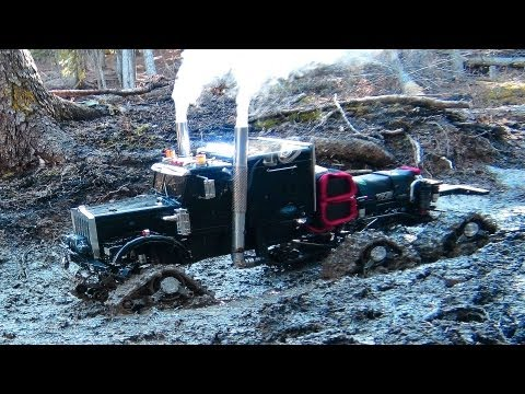 RC ADVENTURES: Muddy Tracked Semi: Truck 6X6 HD OVERKiLL & 4X4 'BEAST' MT on the Trail