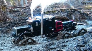 RC ADVENTURES - Muddy Tracked Semi-Truck 6X6 HD OVERKiLL & 4X4 BEAST Monster Truck on the Trail
