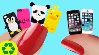 📱📞☎ MINIATURE REALISTIC PHONE CASES + IPHONE - Easy Doll Crafts in 1 Minute